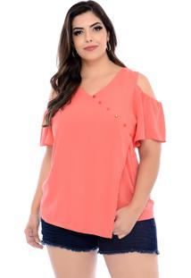 Blusa Arimath Plus Plus Size Coral Assimétrica-54
