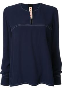 Marni Long-Sleeve Flared Blouse - Azul