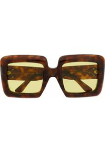 Gucci Eyewear Óculos De Sol Oversized Interlocking G - Marrom