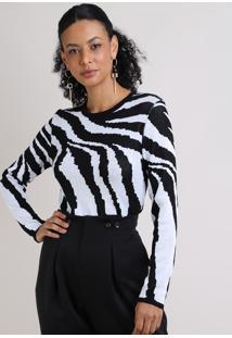 Suéter Feminino Estampa Zebra Decote Redondo Off White