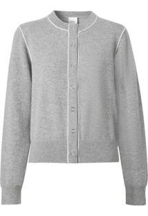 Burberry Cardigan De Cashmere Com Aplicação Monogramada - Cinza