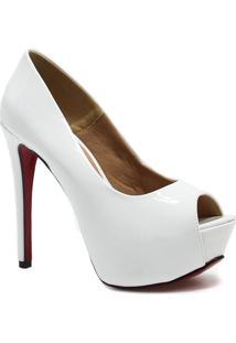 Sapato Zariff Shoes Peep Toe Meia Pata Noivas Branco