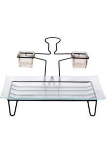 Conjunto Petisqueira Com Molheiras Chefs- Incolor & Pretdecor Glass