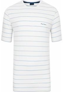 Camiseta Listrada Elastano Branca Top