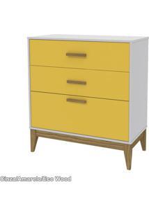 Comoda Nature Infantil Matic Cinza/Eco Wood/ Amarelo