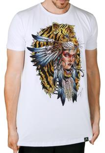 Camiseta Artseries Longline India Tigre Colorida