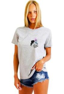 Camiseta Joss Feminina Estampada Galaxy Girl Logo - Feminino-Mescla
