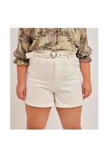 Short Clochard Em Sarja Liso Com Cinto Curve & Plus Size   Ashua Curve E Plus Size   Branco   46