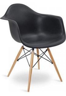 Cadeira Com Braços E Pés Em Madeira Flórida Siena Móveis Preto