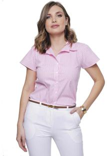 Camisa Feminina Sob Listrada Rosa Manga Curta Algodão