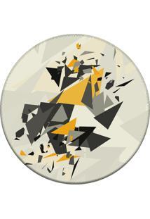 Tapete Love Decor Redondo Wevans Elemento Abstrato Off White 94Cm