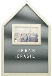Quadro Madeira Plástico Alfabeto E Porta Retrato Cinza 30X2X45Cm Urban