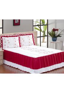 Colcha Casal Queen Coleção Tifanne Bordado 05 Peças Vermelho/Branco Borda Bordados Enxovais
