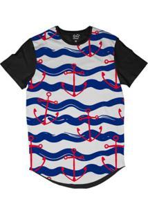 Camiseta Longline Long Beach Náutica Âncora Vermelha Sublimada - Masculino-Azul