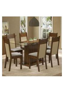 Conjunto Sala De Jantar Madesa Atlanta Mesa Tampo De Vidro Com 6 Cadeiras Rustic/Crema/Pérola