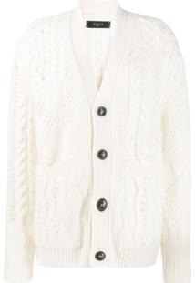 Amiri Cardigan Com Detalhe De Crochê - Branco