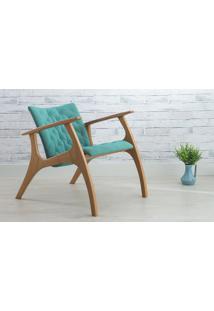 Poltrona Design Azul Turqueza - Poltrona Retrô Estofada Com Pés De Madeira - Verniz Amendoa \ Tec.950 - Smith - 69X83X74 Cm