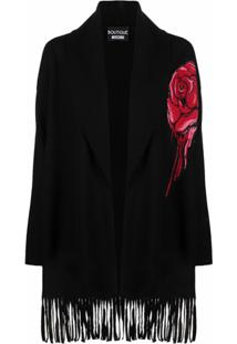 Boutique Moschino Fringed Rose Wool Cardigan - Preto