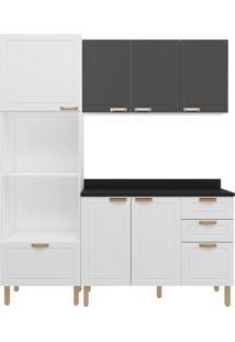 Cozinha Modulada 4 Peças Com Tampo E Nevada 5910Tp-Multimóveis - Branco Premium / Grafite Premium
