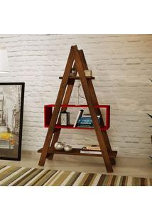 Estante Escada Decor Isadora Design Vermelho Tomate Seco