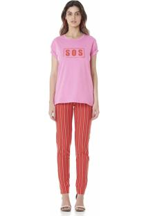 Camiseta Estampada Serinah Brand Sos Rosa