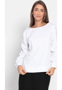 Blusa Com Franzidos- Branca- Ennaenna