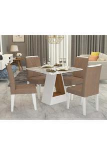 Conjunto De Mesa De Jantar Quadrada Alana Com 4 Cadeiras Nicole Suede Pluma E Branco
