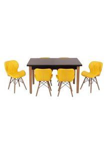 Conjunto Mesa De Jantar Luiza 135Cm Preta Com 6 Cadeiras Slim - Amarelo
