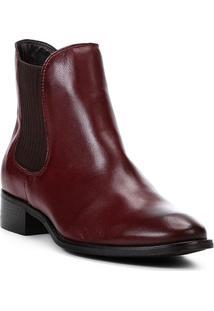 Bota Chelsea Shoestock Flat Couro Feminina - Feminino-Vinho