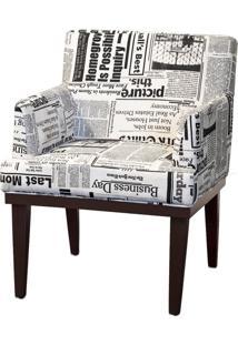 Poltrona Decorativa Para Sala De Estar E Recepção Beatriz Suede Jornal - Lyam Decor