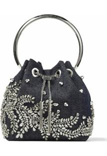Jimmy Choo Bon Bon Embellished Top Handle Bag - Azul