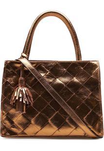 Bolsa Mini Tote Feminina Corello Tresse Couro Cristal Corello Tote Bag Bronze