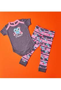 Pijama Coruja- Cinza Escuro & Rosapuket