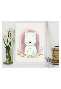 Quadro Decorativo Infantil Urso Baby Branco - 30X40Cm