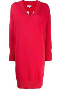 Kenzo Vestido Suéter Com Logo - Vermelho