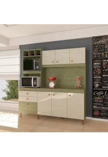 Cozinha Compacta Málaga 6 Pt 3 Gv Castanho E Off White