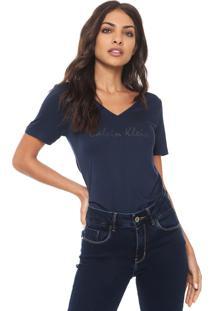 Camiseta Calvin Klein Jeans Estampada Azul-Marinho