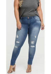 Calça Jeans Destroyed Skinny Feminina Plus Size Biotipo