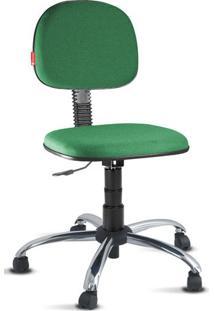 Cadeira Escritório Giratória Verde Cromada
