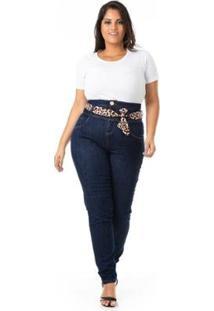 Calça Jeans Cintura Alta Plus Size Confidencial Extra Feminina - Feminino-Azul
