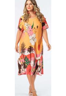 Vestido Almaria Plus Size Munny Midi Estampado Ama