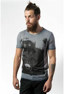 Camiseta Estonada Skull Lab Graveyard - Masculino-Cinza