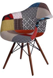 Cadeira Eames Com Braco Base Escura Patchwork - 45023 - Sun House