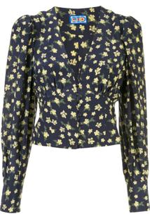 Lhd Lhd - Roadhouse Ditsy Floral Print Blouse - Mulher - Seda/Viscose - 0 - Azul