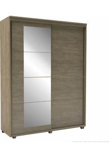 Guarda-Roupa 2 Portas De Correr 3 Gavetas Com Pés Eleganza 100% Mdf 230 X 178,5 X 60 Com Espelho Ébano - Belmax Móveis