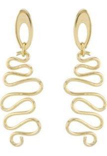 Brinco Barbara Strauss Semi Joia Espiral Em Metal Rev Em Ouro 18K - Feminino-Dourado