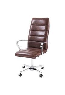 Cadeira Office Jenny Courino Caramelo Base Cromada 107Cm - 61281 Caramelo