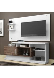 Rack Com Painel Para Tv 47 Polegadas Camaçari Branco E Chocolate 156 Cm