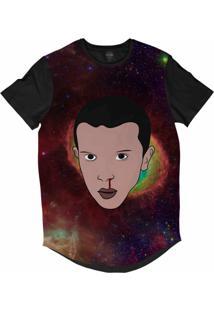 Camiseta Longline Insane 10 Stranger Things Eleven Galáxia Sublimada Preto