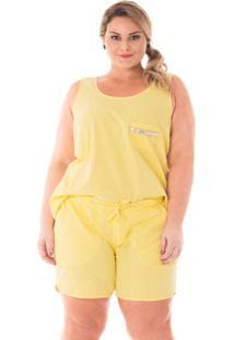 Regata Confidencial Extra Plus Size Com Aplicação De Pedraria Feminina - Feminino-Amarelo Claro